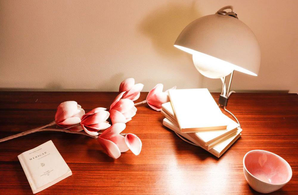 dettaglio allestimento lampada e libri